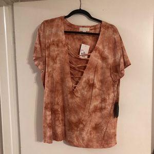 Orange tie dye lace up front T-shirt